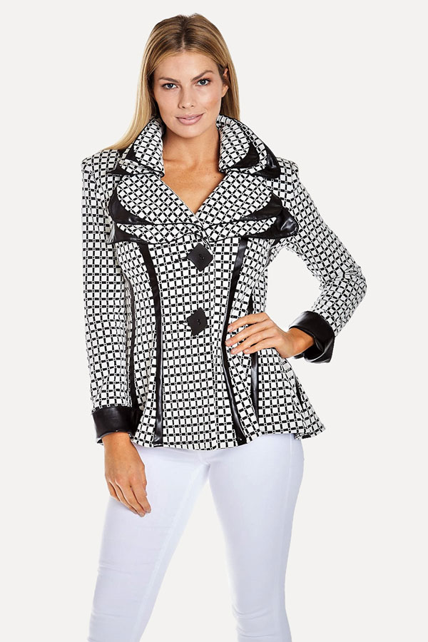 Checked Fitted Jacket with Faux Trim