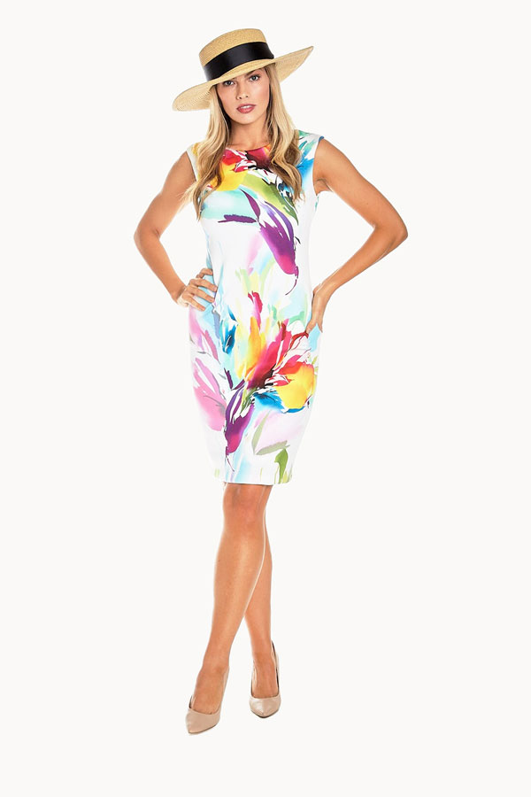 Jersey Floral Sheath Dress