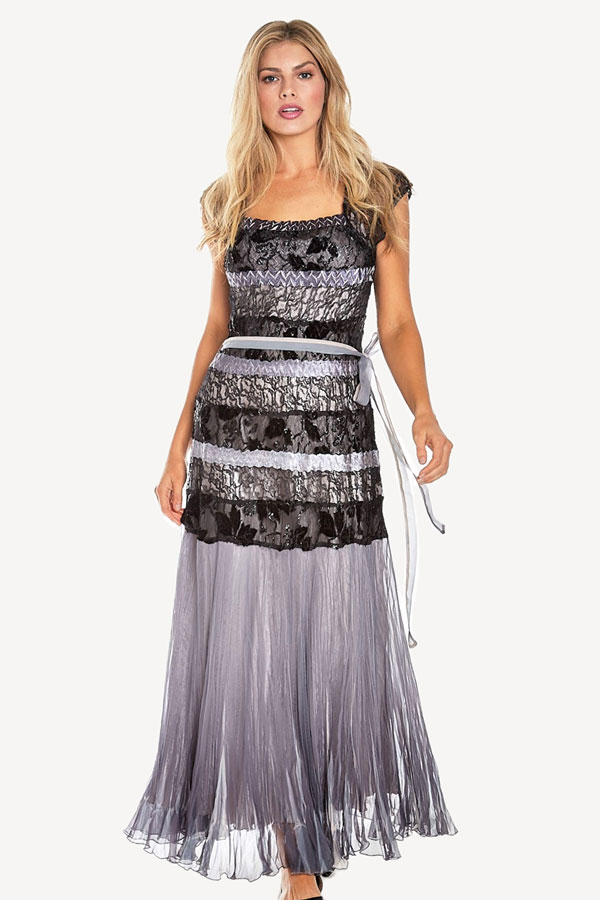 Plisse Tiered Gown