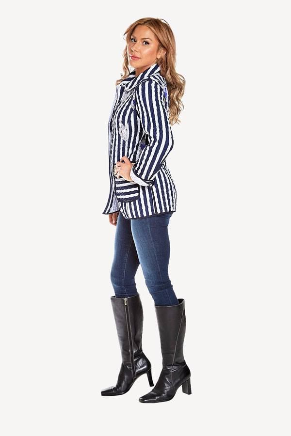 Italian Quilted Striped Outerwear