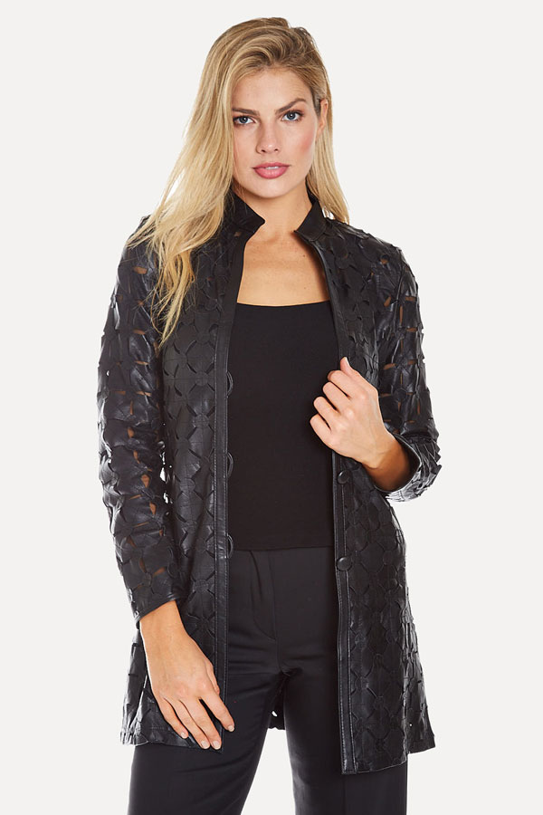Black Leather Cutout Jacket