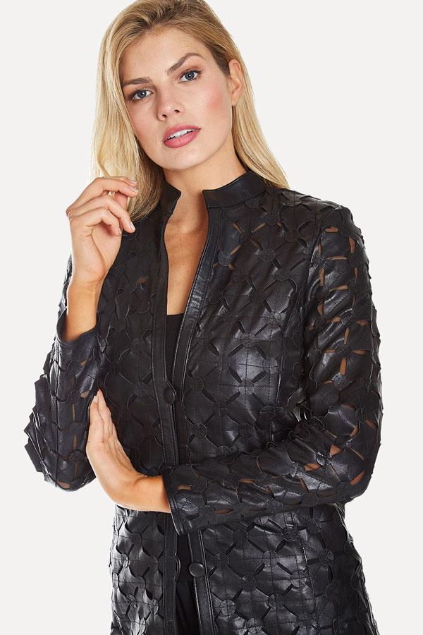 Black Leather Cutout Jacket