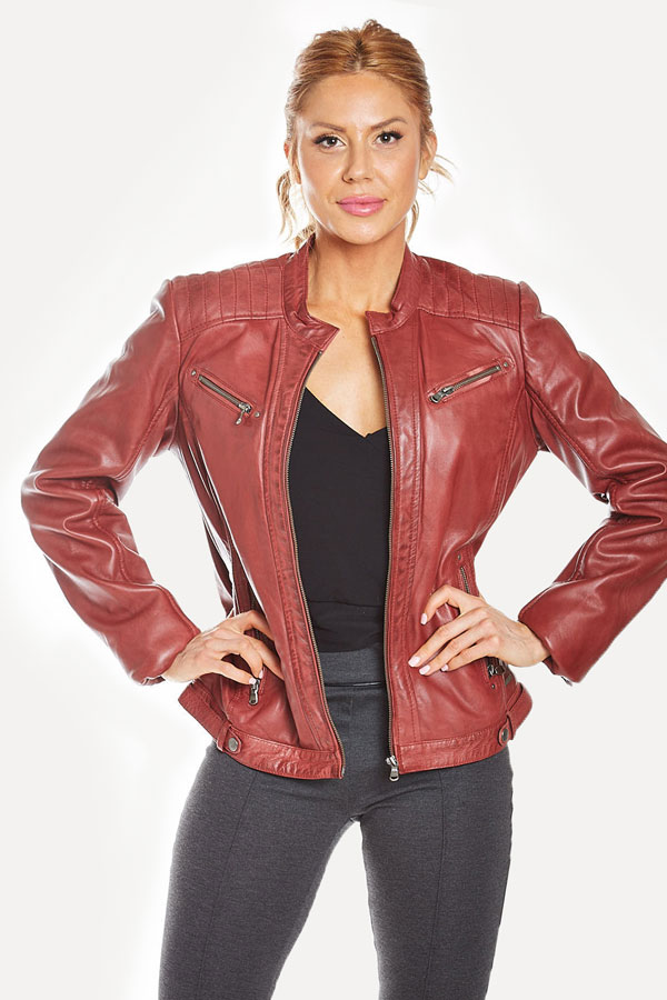 front view of women's red leather jacket with shoulder stitching details