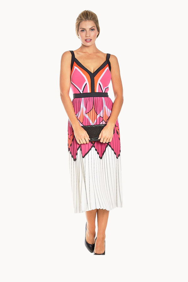 Printed Knit Floral pleat dress