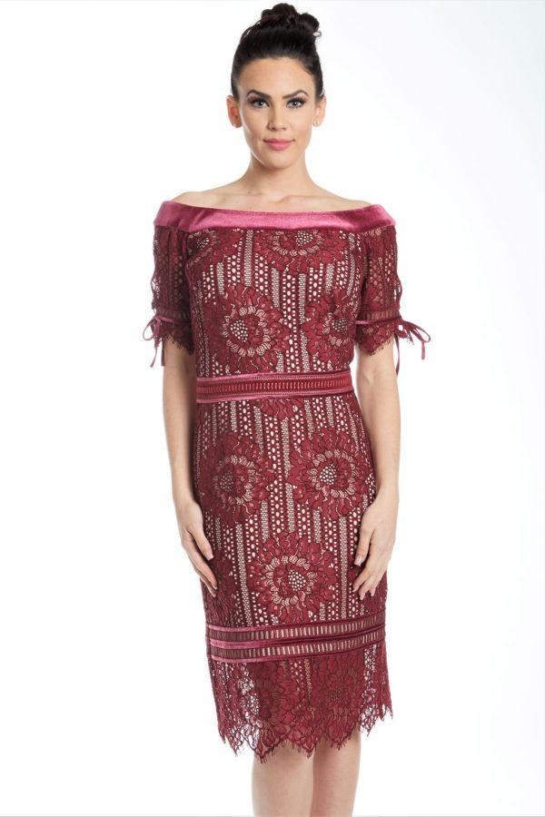 Off Shoulder Velvet Lace Cocktail dress