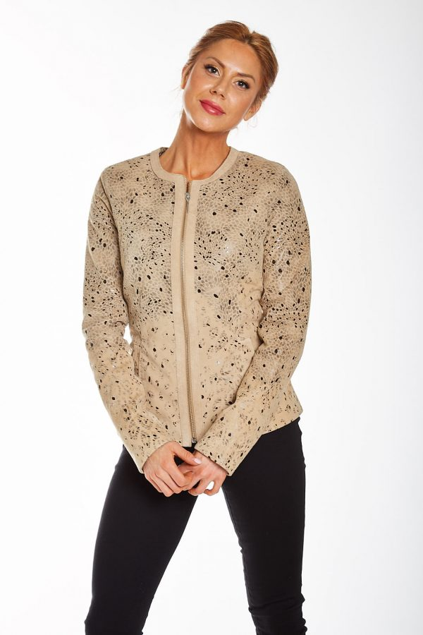 Front view of women's camel floral leather jacket