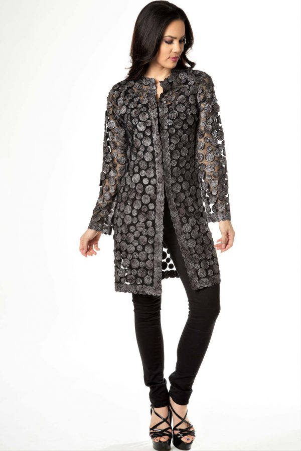 Circular Leather Python Print Jacket