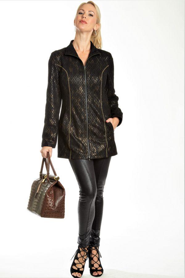 Leather Embossed Print Jacket