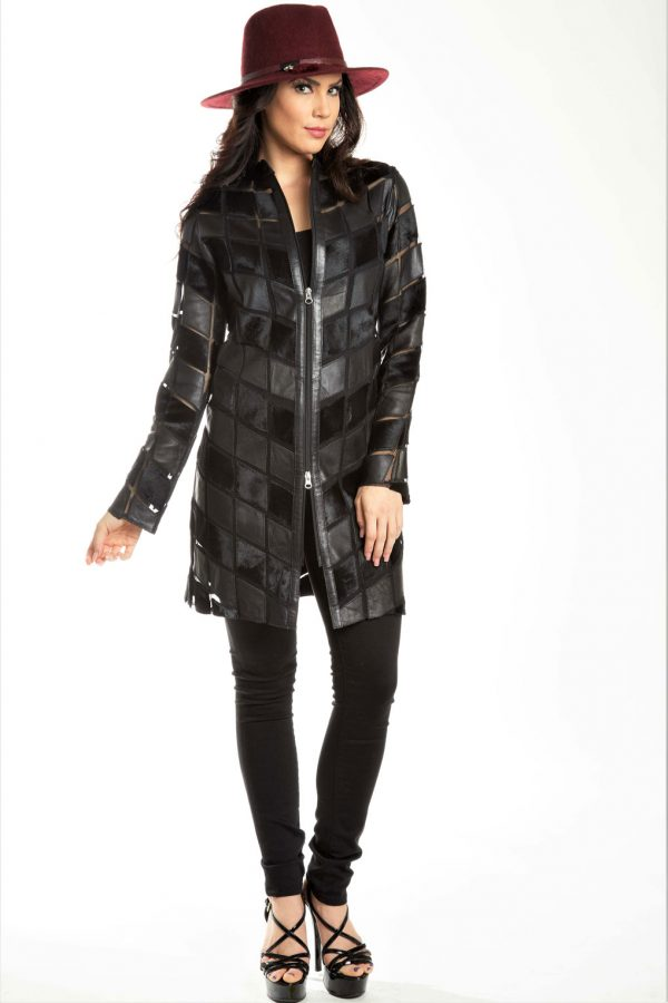 Leather with Calf Hair Geo Sheer Jacket