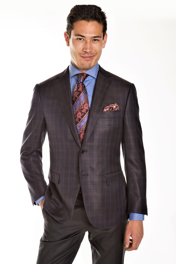 Ravazzolo-Silk/Wool Jacket in Hounds-Tooth Window Pane