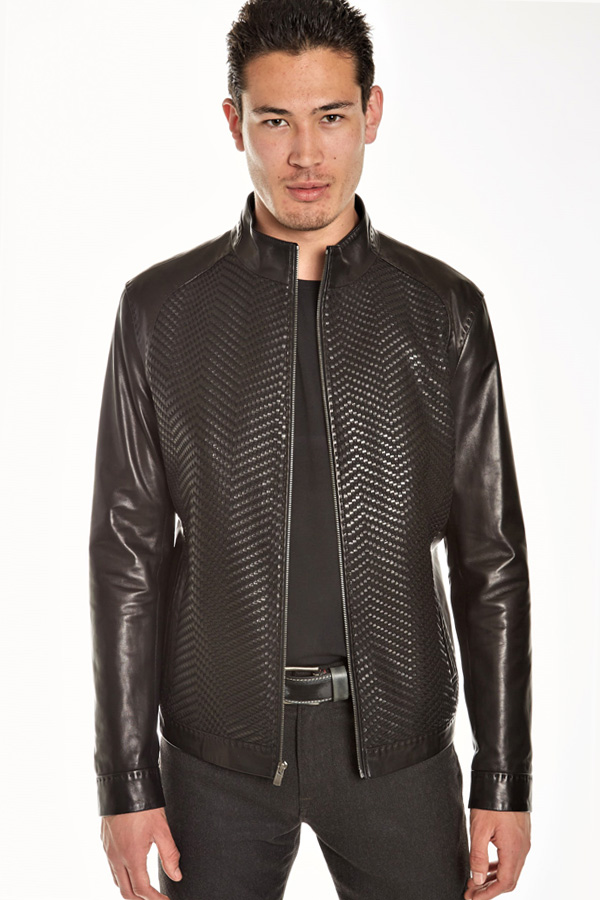 Top Quality Leather Zip Blouson-Woven Chevron front panels