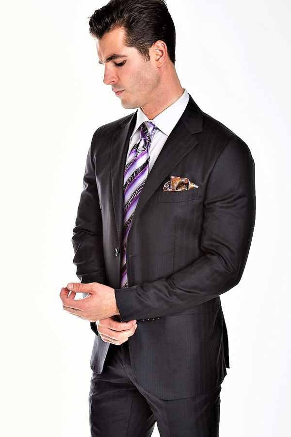 Suit, Modern Chevron Stripe Super 120's cloth by Tallia Di Delfino