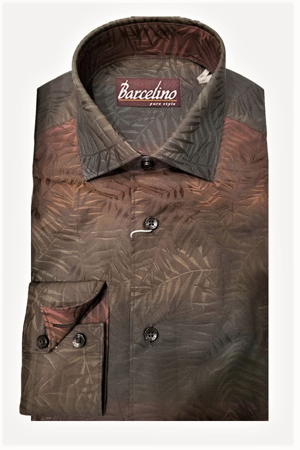 Sport Shirt in Degrede Effect Italian Jacquard fabric. This Ombre Design Shirt is Made in a Modern Fit.
