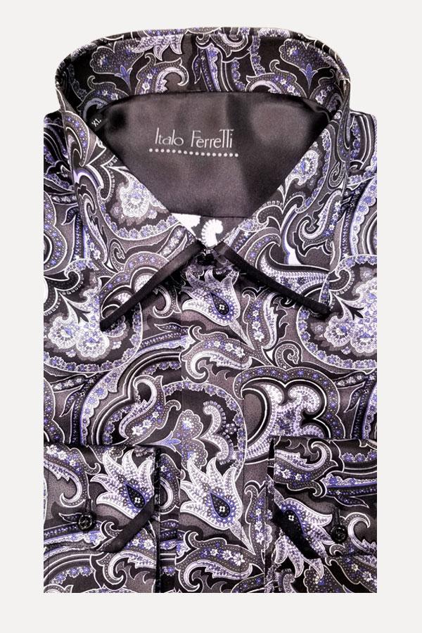 Italo Ferretti-100% Silk Shirt Maxi Paisley. Comfortable Fit.