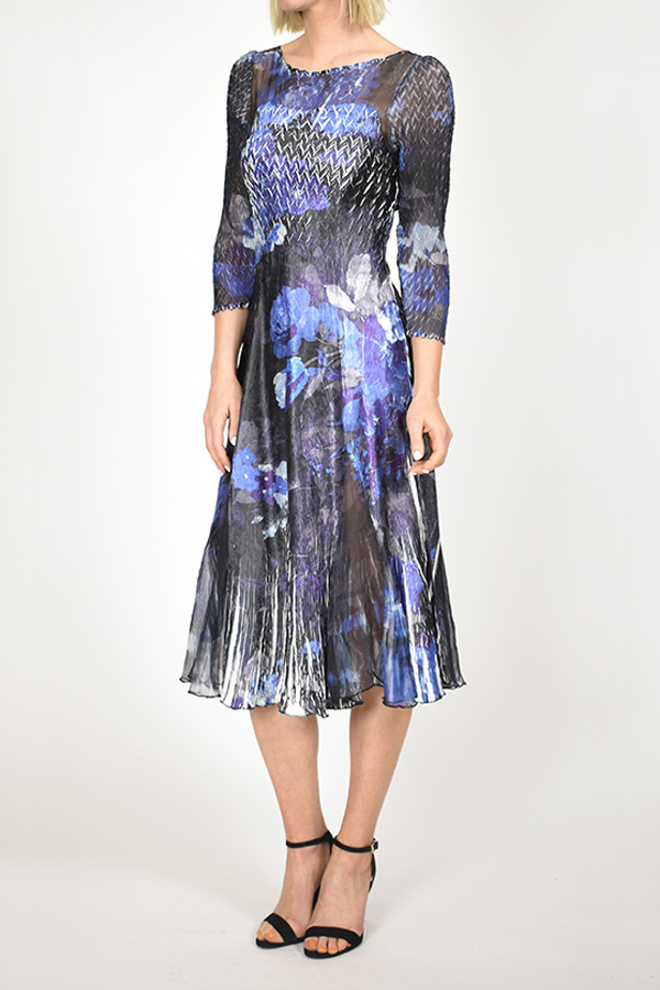 Plisse Floral Printed Dress