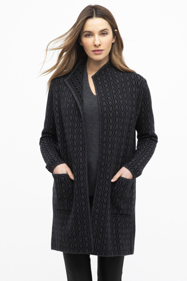 Reversible 100% Cashmere Chain Print  Cardigan