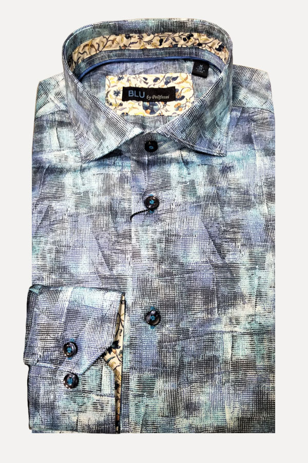 Shirt, 100% Cotton in Geo Abstract Print. Modern Fit.