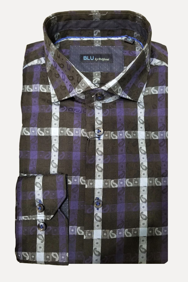 men's maxi check woven jacquard sports shirt