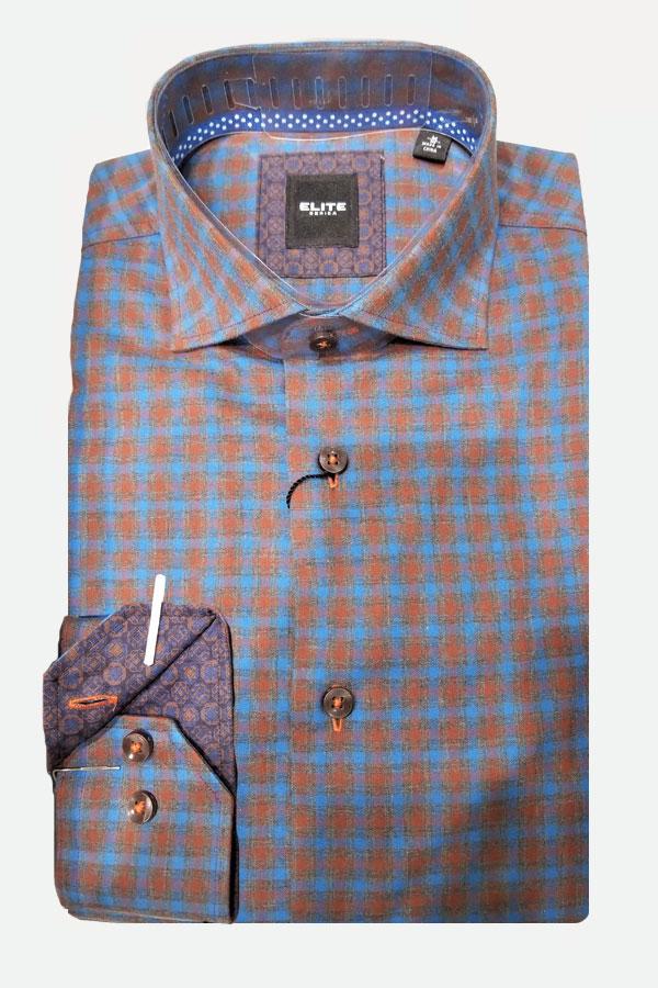 men's cotton flannel check pattern sports shirt by Elite