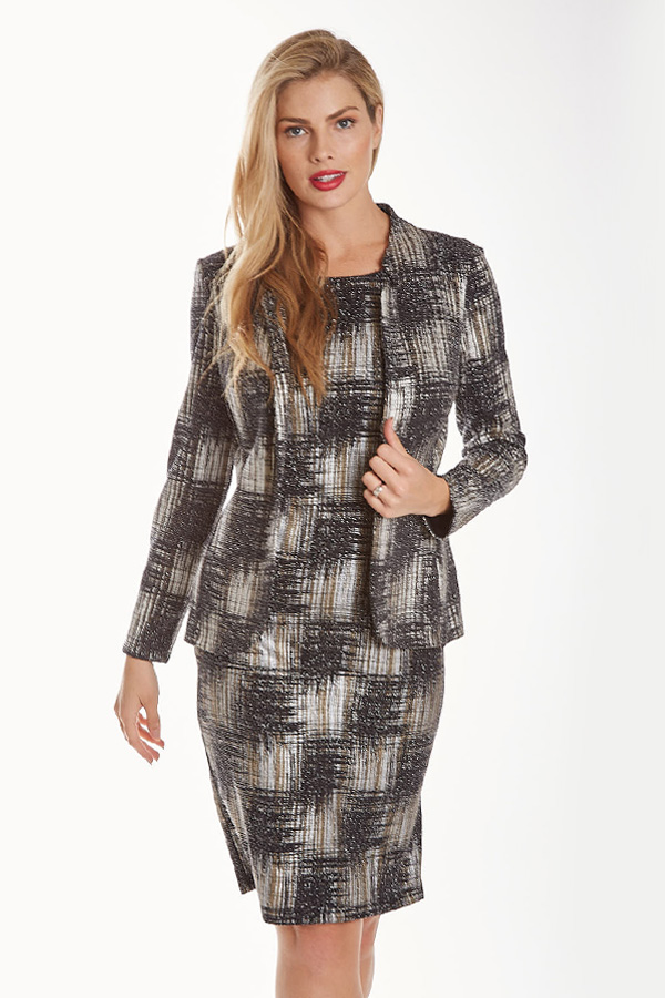 Knit Plaid Jacket with hint of Sparkle