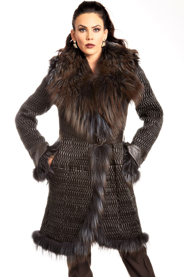 Fox Fur Entrefino Spanish Plisse Leather Knee Length Coat