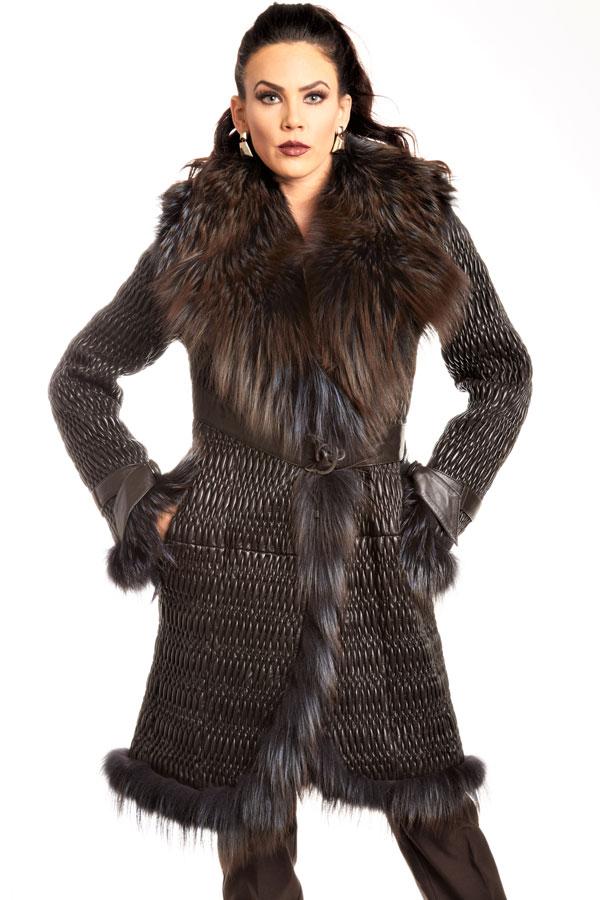 Fox Fur Entrefino Spanish Plisse Leather Knee Length Coat