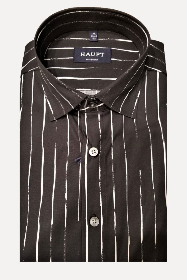 men's black and thin white stripes sports shirt by haupt