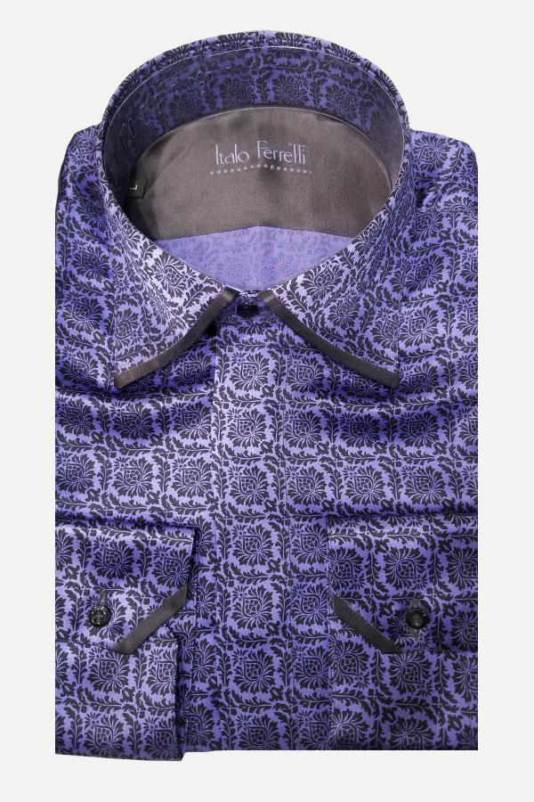 Italo Ferretti-Made in Italy-Pure Silk Shirt in Printed Crepe De Chine. Italo Ferretti, made for Barcelino.