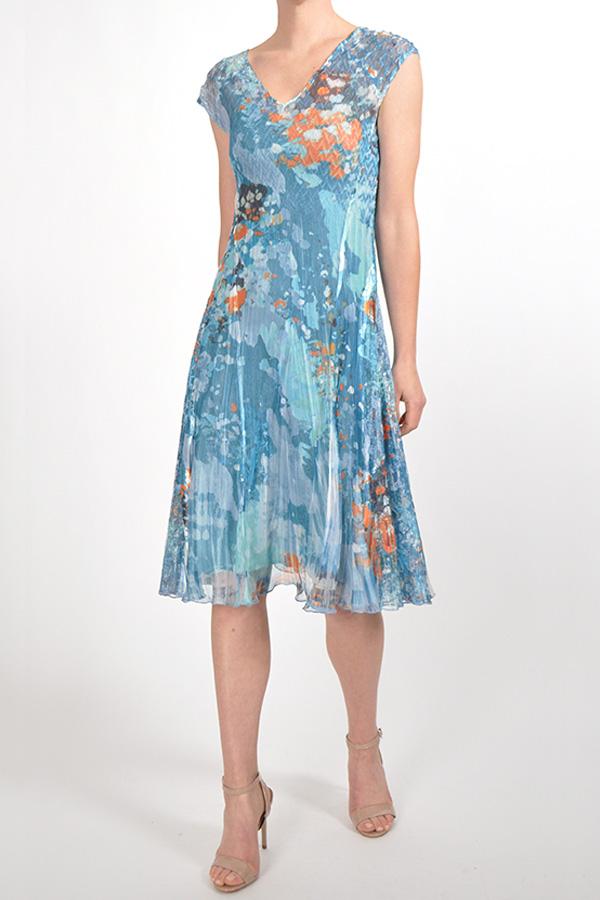 Plisse Floral Print Summer Dress