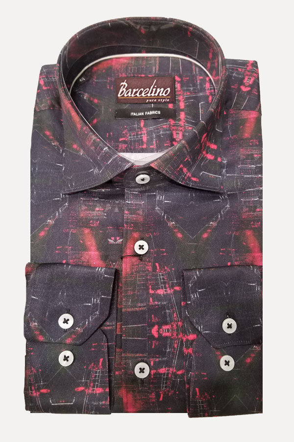 Hidden Button Down Shirt in Modern Fit, made of Italian Printed Fabric. 100% Cotton.