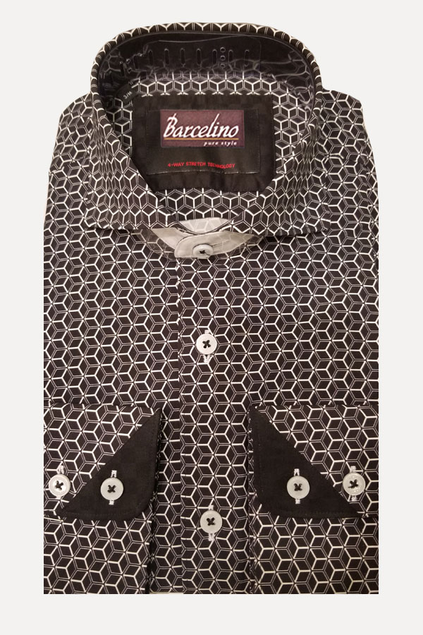 Printed Shirt in Cotton Stretch Fabric