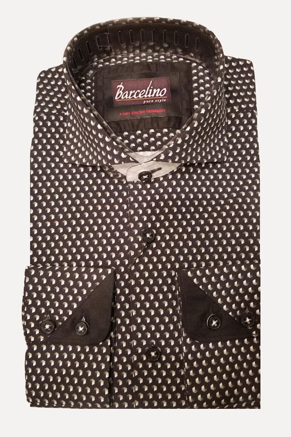 Shirt in Stretch print fabric, designed in Modern Fit.