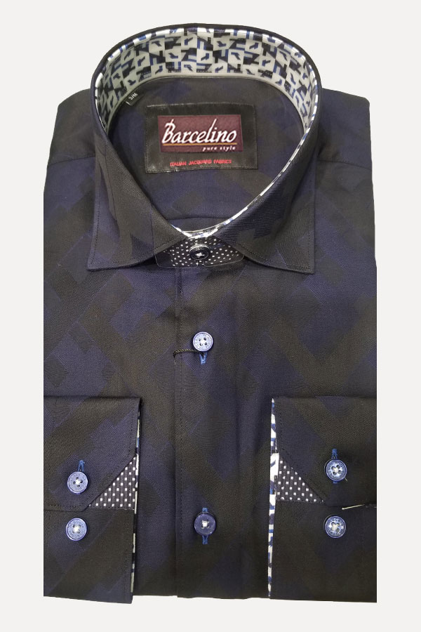 Modern Fit Sport Shirt in Italian Maxi Diamond Jacquard Fabric.