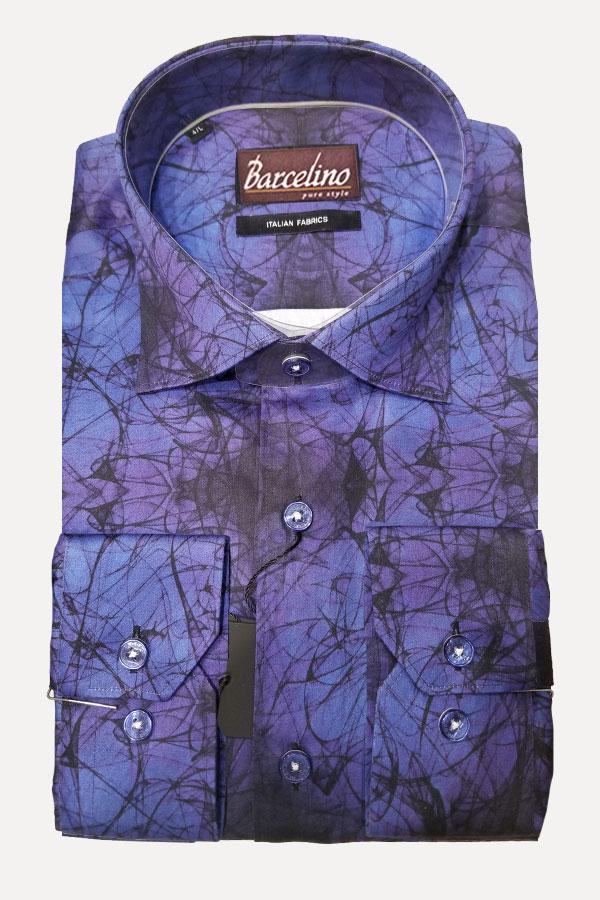 Italian Printed Fabric in fine 100% Venetian Cloth. Hidden Button Down model.