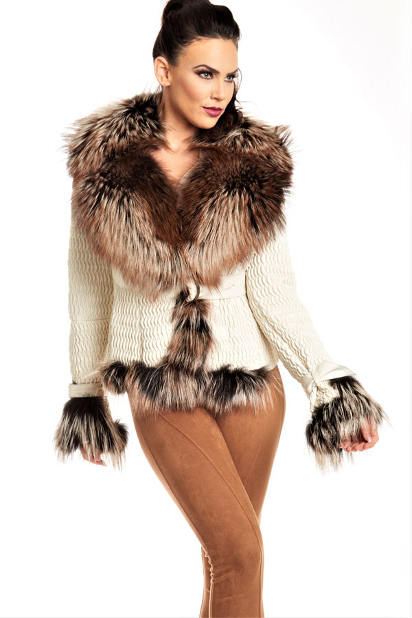 Fox Fur Entrefino Spanish Plisse Leather Coat