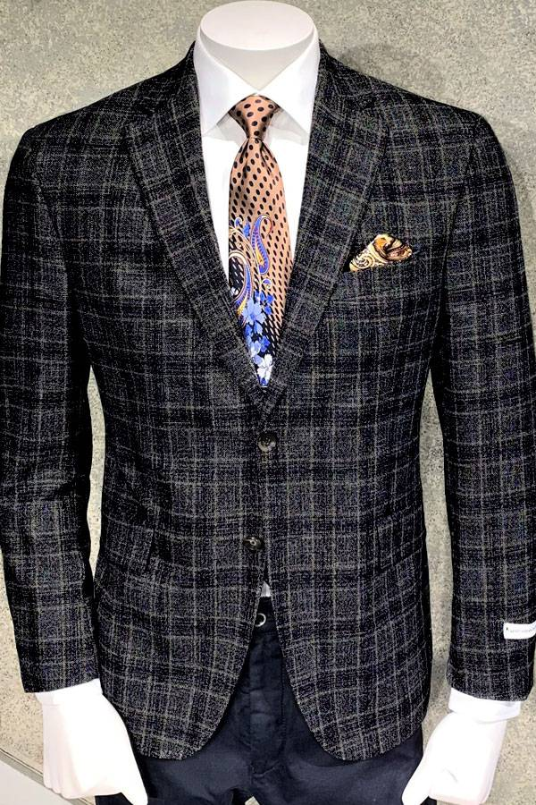 Wool and Viscosa Jacket in Plaid Italian Fabric Design