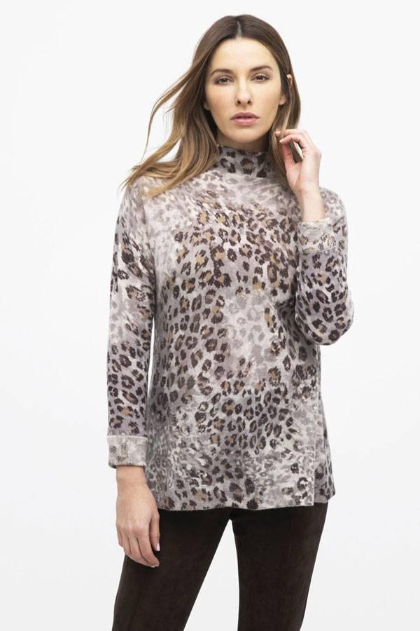 Kinross 100% Cashmere Leopard Knit Top