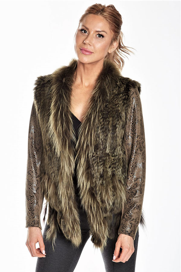 close-up of knit fur jacket with python fabric sleeves