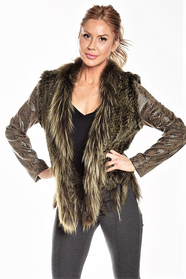 knit fur jacket with python fabric sleeve front