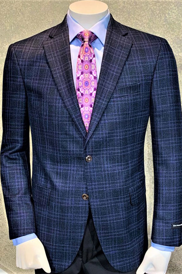 Plaid Jacket in Italian Wool/Viscosa Wrinkle Ease