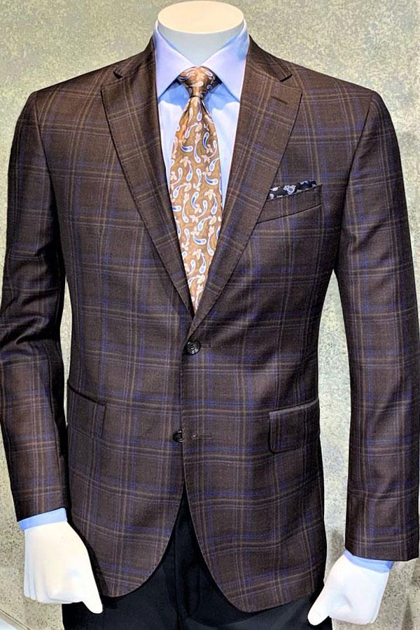 Jacket in Fine Italian Serge Super 130's Pure Wool Plaid Design