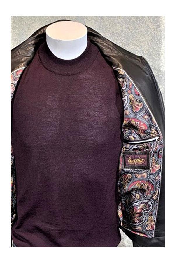Torras Leather Blouson with Crocodile Trim Detail and Silk Tweel Lining