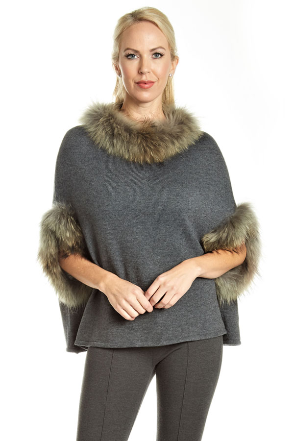 close-up of fur trimmed knit poncho