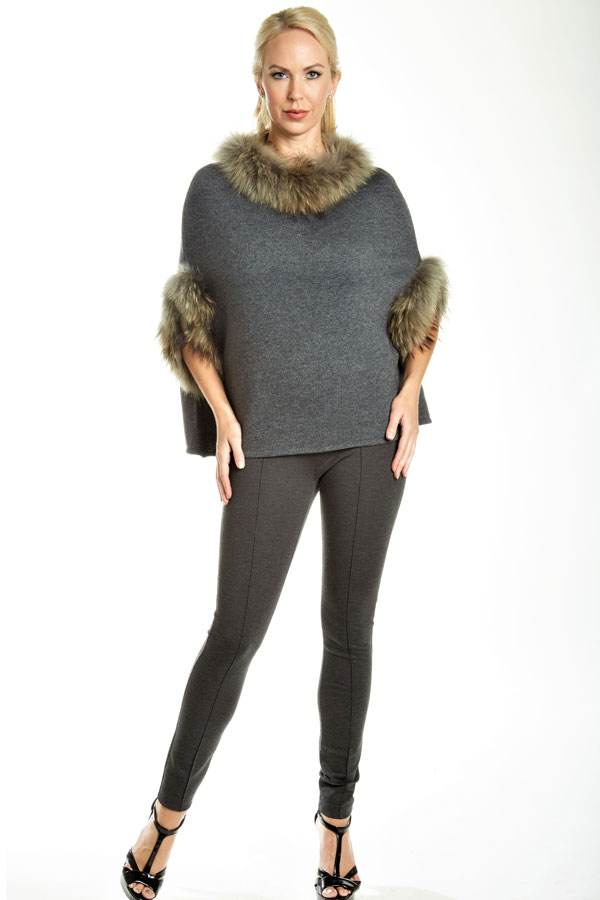 fur trimmed knit poncho gray