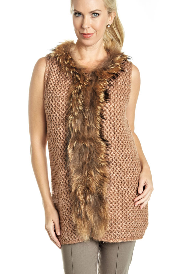 knit fur trimmed vest nutmeg