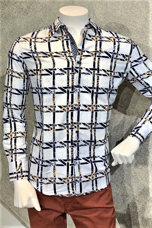 Printed Sport Shirt in Maxi Check Design.