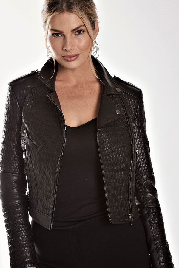 Embossed Leather Moto Jacket