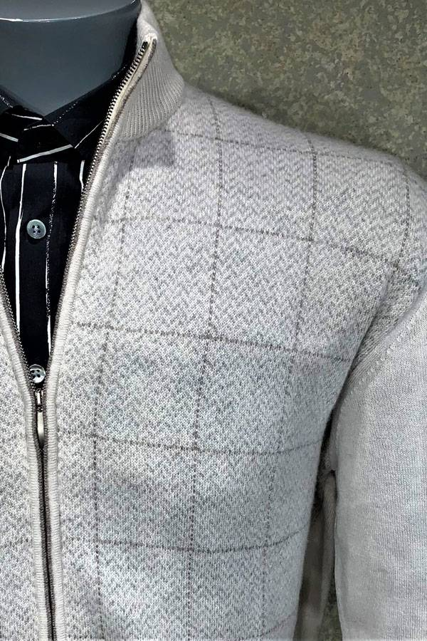 100% Cashmere Window Zip Mock Sweater
