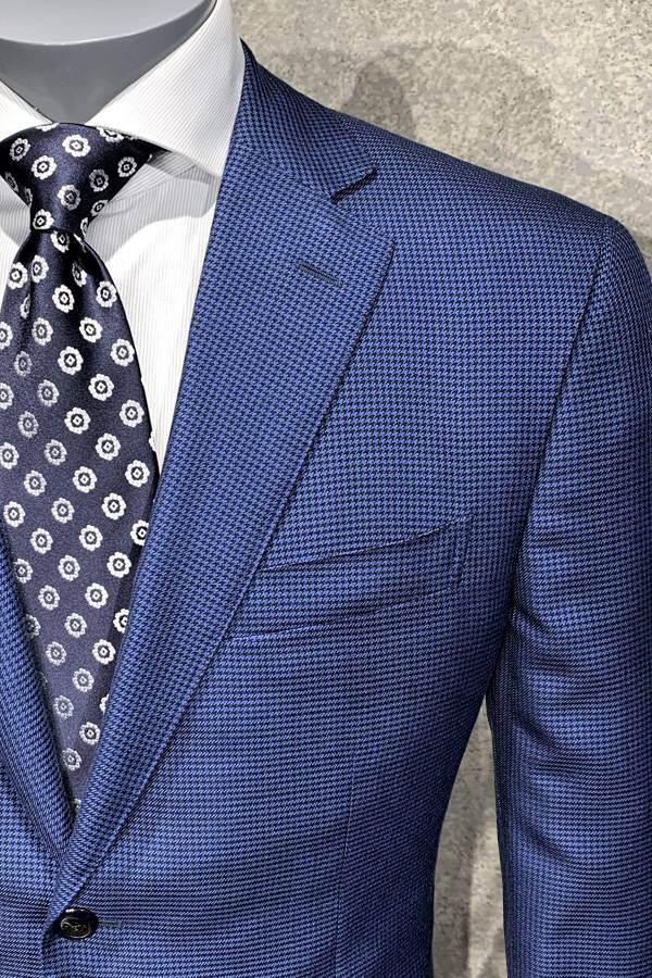 Ravazzolo-Silk&Wool Jacket in Hounds Tooth Design-Italy