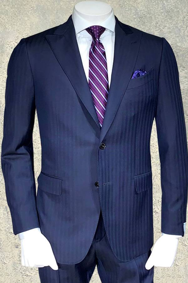 Italian Suit in Ton on Ton Chevron Pattern